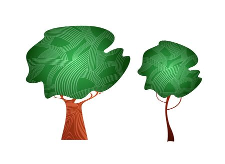 woodenrn: isolated stylized vector trees  Illustration