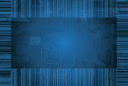 Abstract design background with highly detailed circuit pattern, barcode and transparency effect  Vector