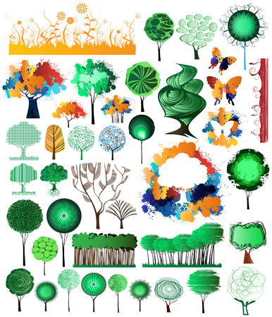 Collection of creative and original design nature theme elements  Illustration