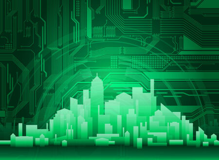 abstract modern, technological city background. Circuit pattern is highly detailed and with clean graphics.