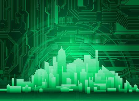 Fondo abstracto ciudad moderna y tecnol�gica. Patr�n de circuito es altamente detallados y con limpiar gr�ficos.