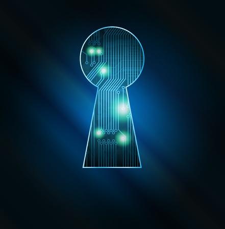 Agujero de clave conceptual con ilustraci�n de fragmento de la placa de circuito. Eps10