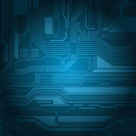 Abstract technology style background with detailed circuit board texture and numbers pattern.  Vector