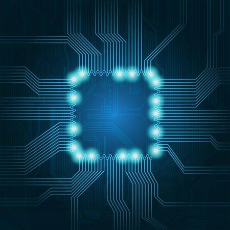 microprocesadores: Fondo de tema de tecnolog�a con un espacio vac�o en el centro para el texto. Formato EPS de 10.  Vectores