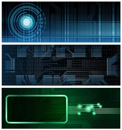 esquemas: Tres banderas de formato horizontal de tema de tecnolog�a. Eps10