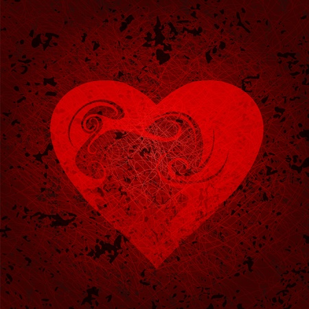 ornamented: Ornamented heart on grunge wall. Eps10  Illustration