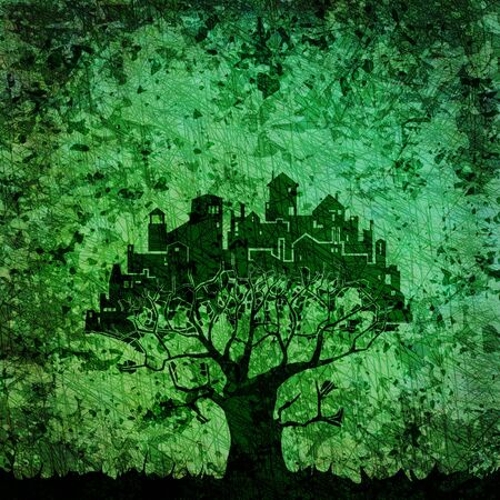 ancient buildings:  Abstract tree - city composition on grungy background