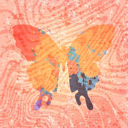 Abstract butterfly drawing on grunge background. Eps10