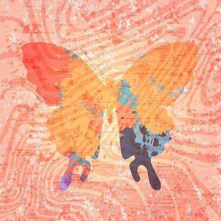 butterfly abstract: Mariposa abstracta de dibujo sobre fondo de grunge. Eps10
