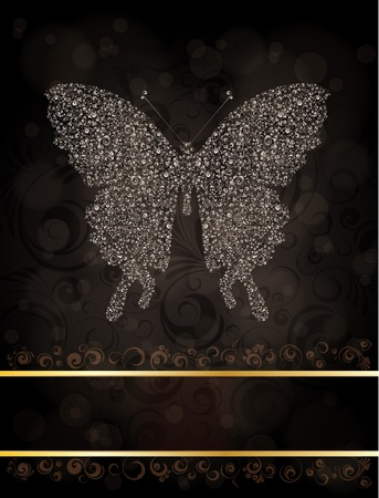 ornamented: Abstract banner with ornamented butterfly silhouette.