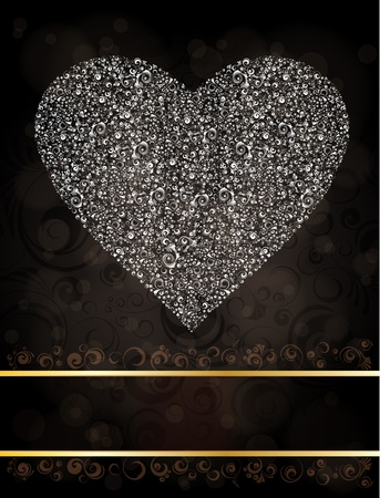 ornamented: Background with ornamented heart . Illustration
