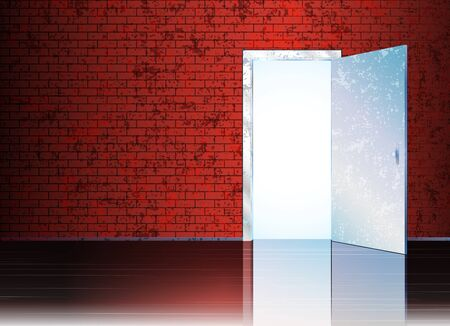 door open: Vector illustration with open door and empty space behind it for your symbol or text.  Illustration