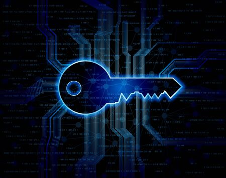 passkey: Abstract conceptual background with key shape and circuit pattern.