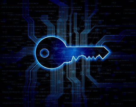 lock  futuristic: Sfondo concettuale astratto con criterio chiave di forma e circuito.