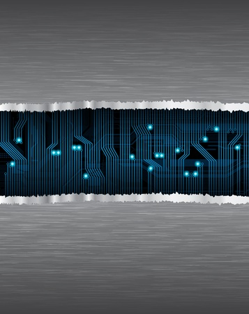 Technology heme template with circuit pattern and brushed metal texture. eps10  Vector