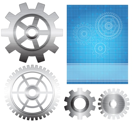 Set of gears with brushed metal texture and abstract background. Eps10  Vector