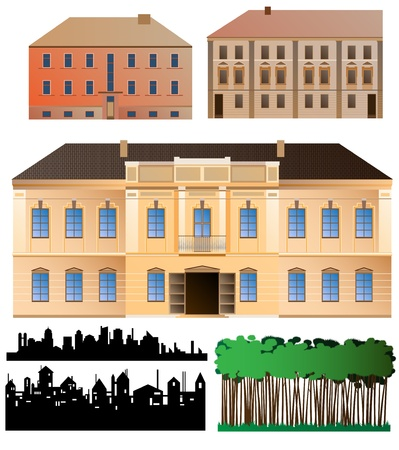Highly detailed palace facade, two less detailed buildings facades, also couple of silhouettes and forest fragment for background. Drawing details well organized, easily editable.eps8 vector  Stock Vector - 8972896