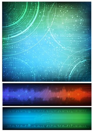 Abstract design, technology theme vector background and two horizontal banners. Eps10  Illustration
