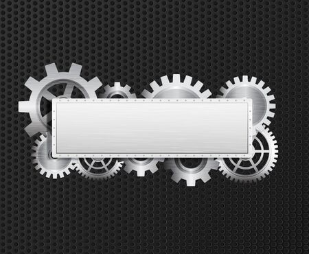 banner with gears, brushed metal texture, metal grid. Eps10