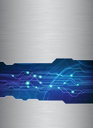 circuitos electronicos:  Plantilla de tema de tecnolog�a con textura de metal pulido. Eps10  Vectores