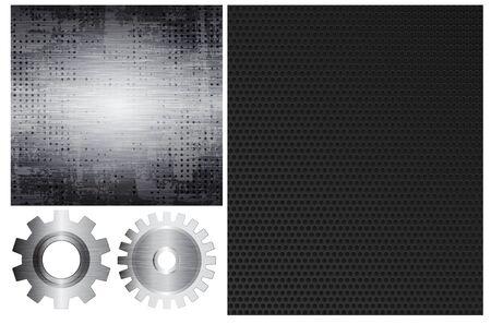 Conjunto de engranajes de metal elementsTwo de vector y dos diferentes. Eps10
