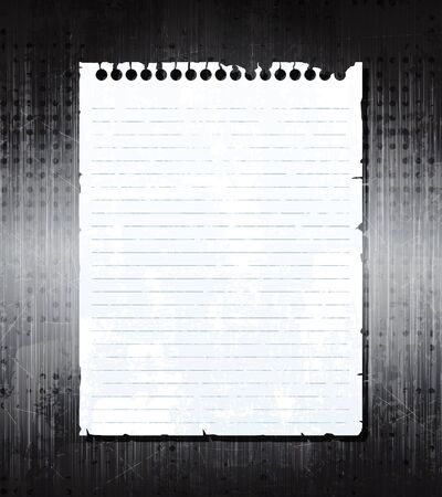 notebook paper background: Old notebook paper on grunge metal background. eps10 vector  Illustration