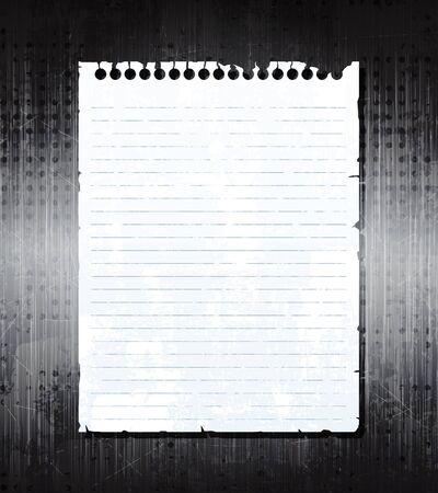 Papel de cuaderno viejo sobre fondo de metal grunge. vector de eps10  Vectores