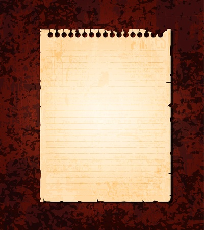 notebook paper background: Empty old notebook paper on grunge background. Eps10 vector  Illustration