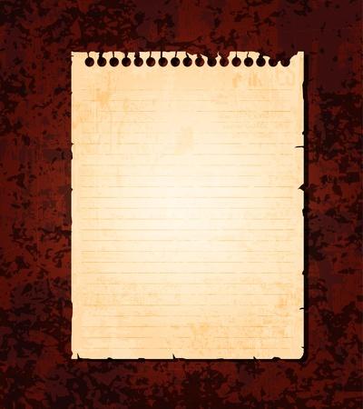 Papel de cuaderno viejo vac�a sobre fondo de grunge. Vector de Eps10  Vectores