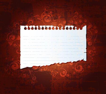 Desgarrado cuaderno sobre fondo de grunge. Vector de Eps10.  Vectores