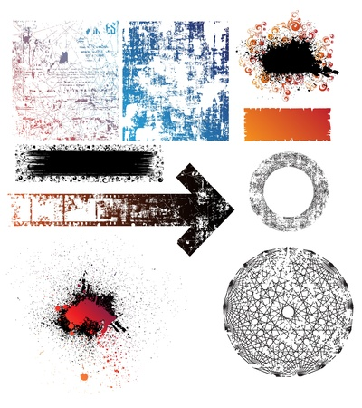 collection of isolated grunge textures, shapes and banners. Eps10 vector