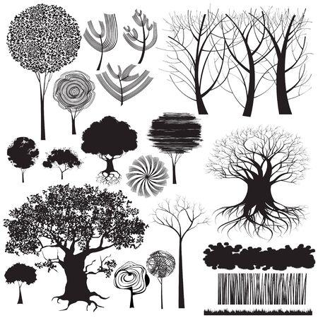 支店: 孤立の様式化された木および森林の他の要素のコレクションです。グランジのいくつか図形があるコマンド、他のすべての図形をトレースを使用して作成は手動で描画されます。