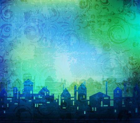 Grungy fondo con silueta estilizada ciudad. capas vectoriales, f�cil editable. eps10