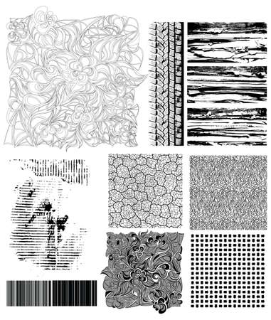 manually: Collection of grunge textures and manually drawn creative patterns.