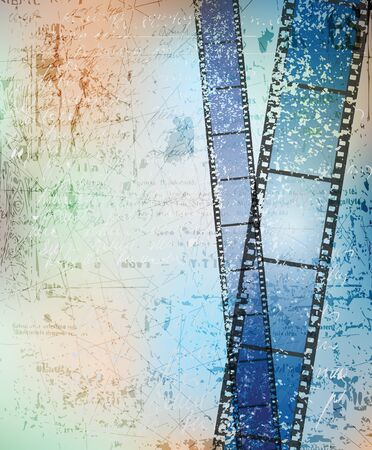 grungy background with damaged filmstrips.  photo