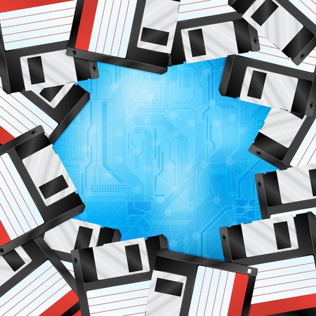 circuitboard: Creative background with floppy disks.  Stock Photo