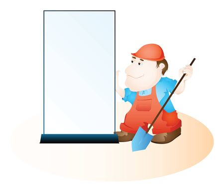 Cartoon worker standing near empty banner for your text.  Stock Photo - 10037940