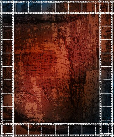 grungy background with filmstrip frames.  photo
