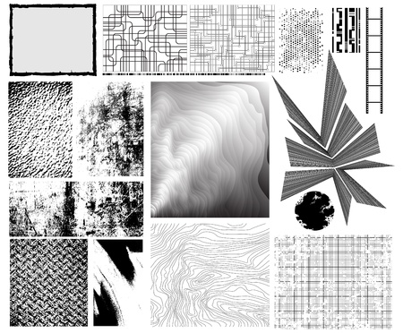 traced: Collection of traced grungy vector textures, manually drawn creative patterns and other design elements.