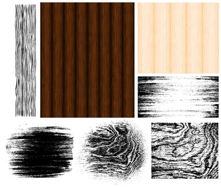 wood textures: Collection of manually drawn wood patterns and traced grungy wood textures.  Illustration