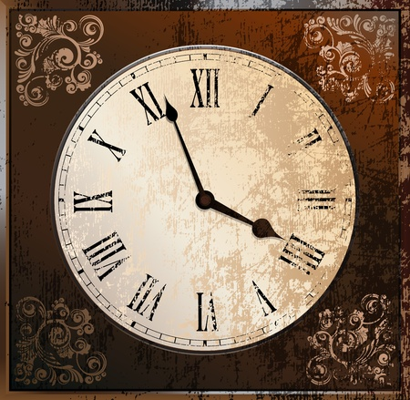 Old grungy clock vector illustration. eps10
