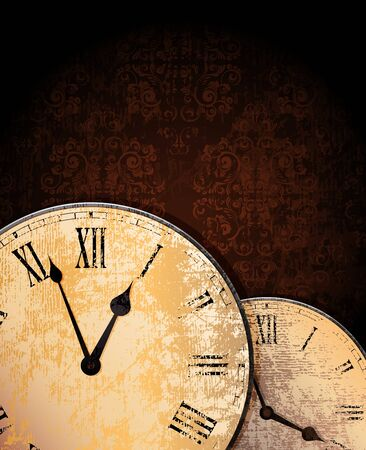ornamented: ornamented grungy background with old clocks.  Stock Photo