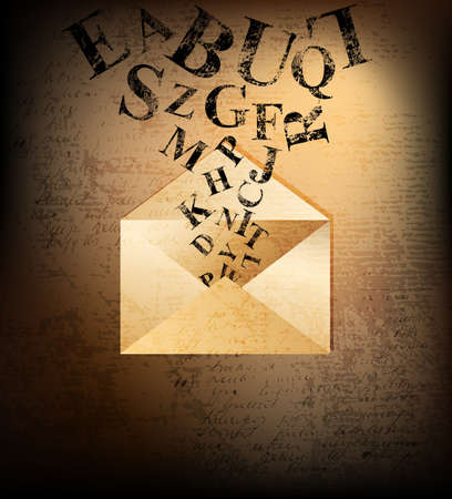 old envelope: Abstract letter illustration.  Stock Photo
