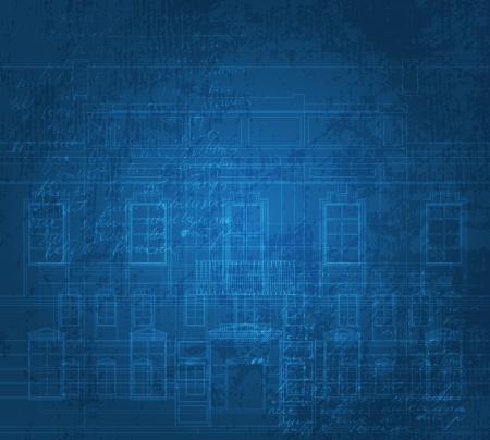 Grunge Hintergrund mit Gebäudefassade Zeichnungen. Eps10 Vektor