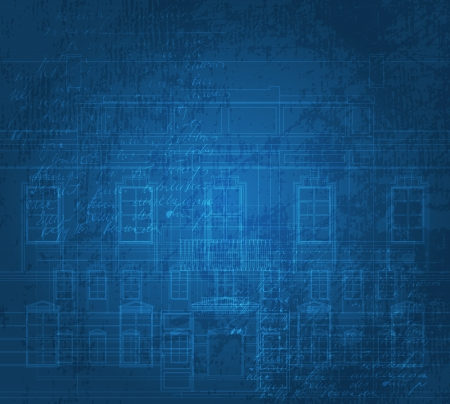 Grungy background with building facade drawings. Eps10 vector