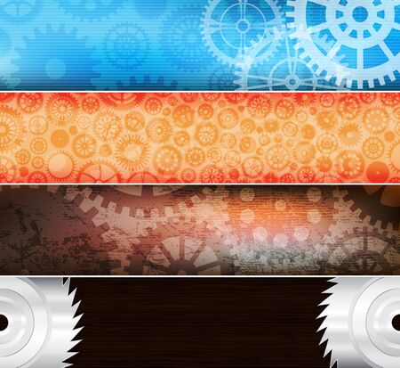 set of vector banners with gears. eps10 vector  Illustration