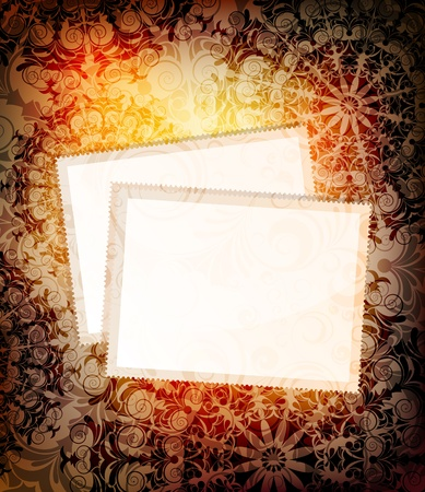 ornamented: empty cards on ornamented background.  Illustration