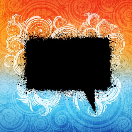 ornamented: grungy speech bubble on ornamented background.
