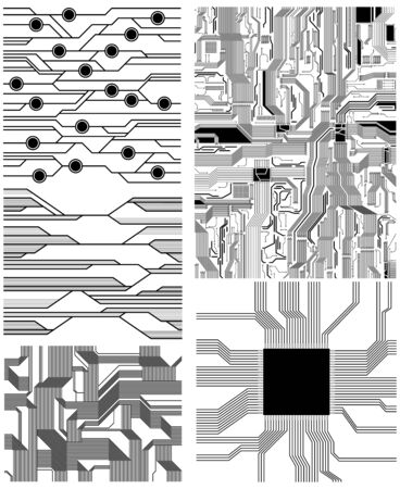 microchip: set of technology and electronics theme vector patterns.