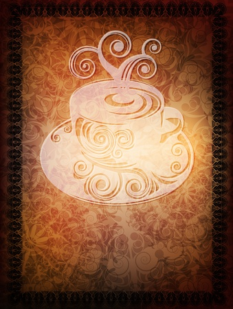 ornamented: ornamented banner with coffee cup and space for text  Illustration